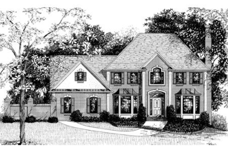 European Exterior - Front Elevation Plan #56-190