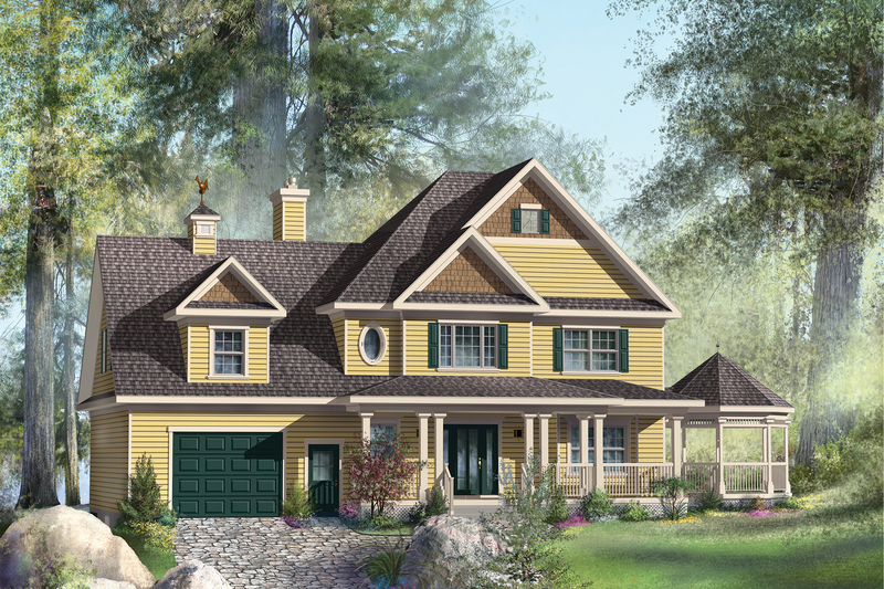 Country Style House Plan - 2 Beds 2 Baths 2571 Sq/Ft Plan #25-4686 Exterior - Front Elevation