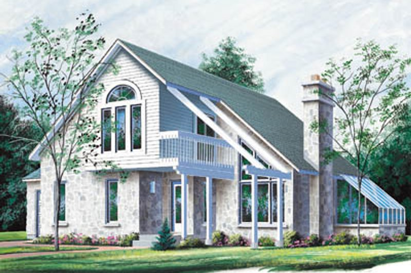 Modern Style House Plan - 3 Beds 2 Baths 1876 Sq/Ft Plan #23-2044 Exterior - Front Elevation
