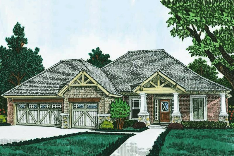 Ranch Exterior - Front Elevation Plan #310-1311