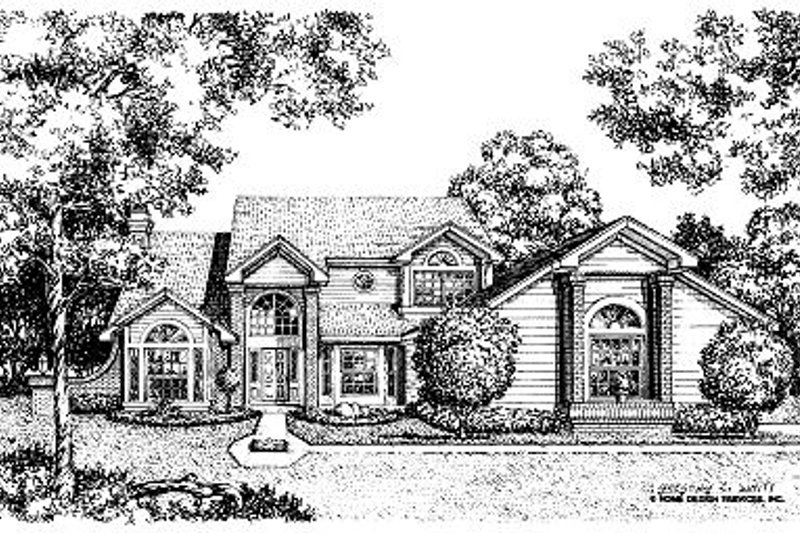 European Style House Plan - 4 Beds 3.5 Baths 2732 Sq/Ft Plan #417-323 Exterior - Front Elevation