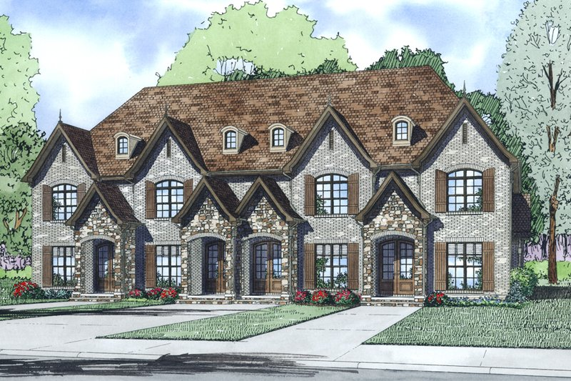 European Style House Plan - 2 Beds 2.5 Baths 1510 Sq/Ft Plan #17-2525 Exterior - Other Elevation