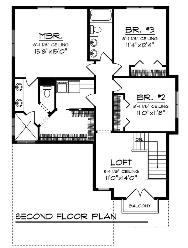 Country Floor Plan - Upper Floor Plan Plan #70-1463