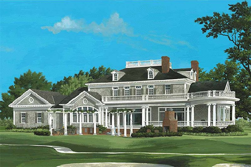 Southern Exterior - Rear Elevation Plan #137-186 - Houseplans.com