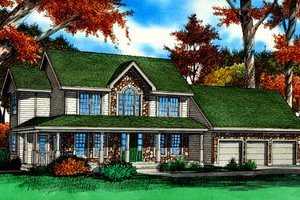 Architectural House Design - Country Exterior - Front Elevation Plan #405-214