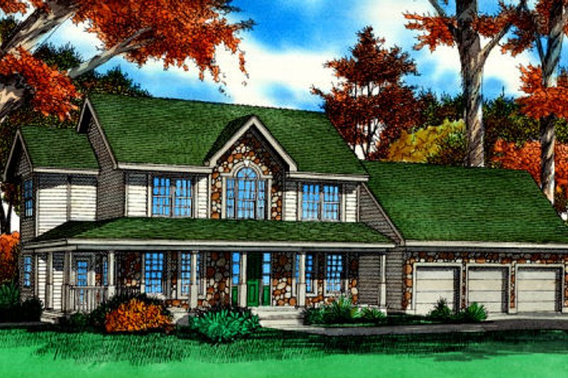 Dream House Plan - Country Exterior - Front Elevation Plan #405-214