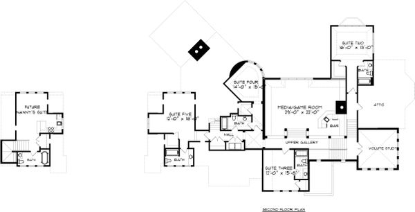Tudor Floor Plan - Upper Floor Plan Plan #413-127