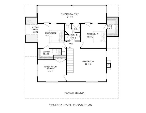 Cabin Floor Plan - Upper Floor Plan #932-44