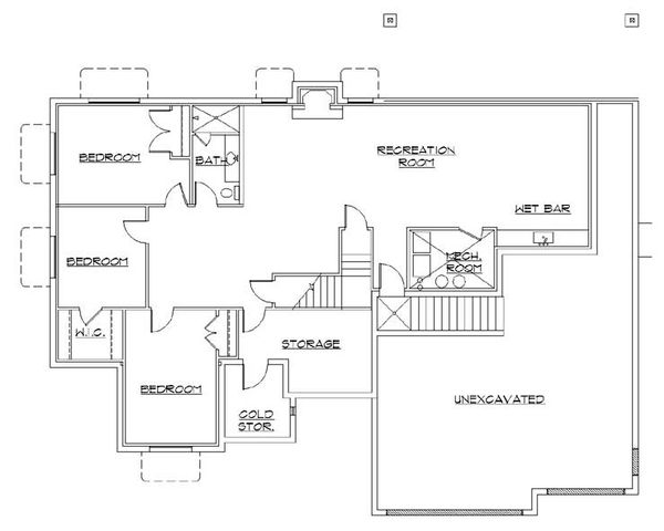 Traditional Floor Plan - Lower Floor Plan Plan #5-260
