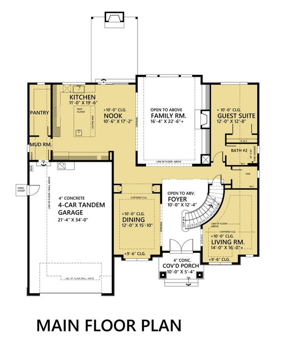 Contemporary Style House Plan - 5 Beds 4.5 Baths 4073 Sq/Ft Plan #1066-45 Floor Plan - Main Floor Plan