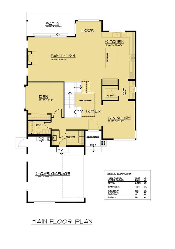 European Floor Plan - Main Floor Plan Plan #1066-65