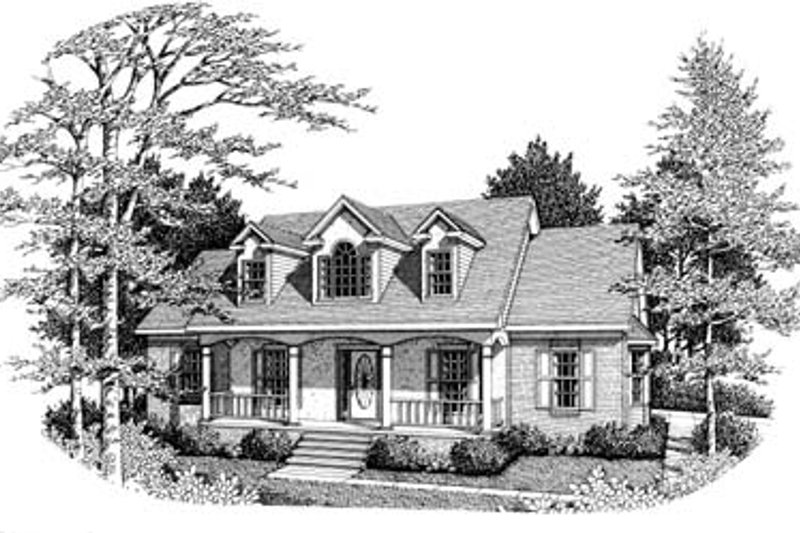 Colonial Style House Plan - 3 Beds 2 Baths 1672 Sq/Ft Plan #10-117