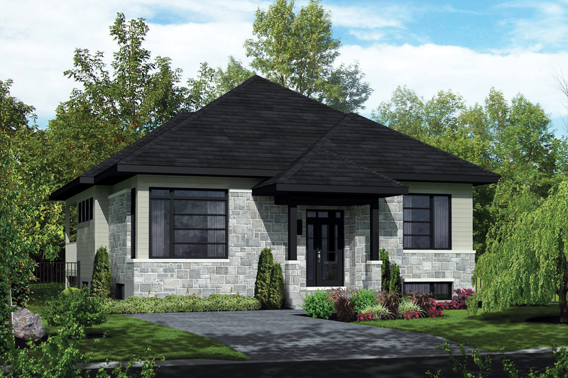 Contemporary Style House Plan - 3 Beds 1 Baths 1436 Sq/Ft Plan #25-4464 Exterior - Front Elevation