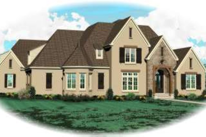 European Style House Plan - 5 Beds 3.5 Baths 4567 Sq/Ft Plan #81-1635 Exterior - Front Elevation