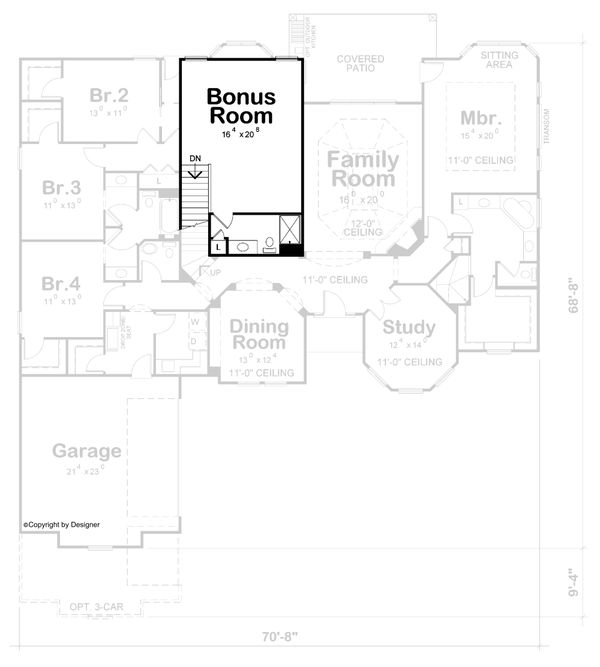 Home Plan - Mediterranean Floor Plan - Upper Floor Plan #20-2443