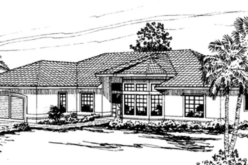 Home Plan - Mediterranean Exterior - Front Elevation Plan #124-229