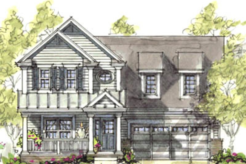 European Style House Plan - 3 Beds 2.5 Baths 1575 Sq/Ft Plan #20-1214 Exterior - Front Elevation
