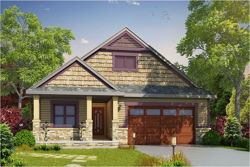 Craftsman Style House Plan - 2 Beds 3 Baths 1676 Sq/Ft Plan #20-2201 Exterior - Front Elevation