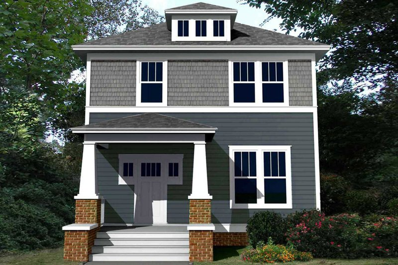 Craftsman Style House Plan - 4 Beds 3 Baths 1824 Sq/Ft Plan #461-60 Exterior - Front Elevation