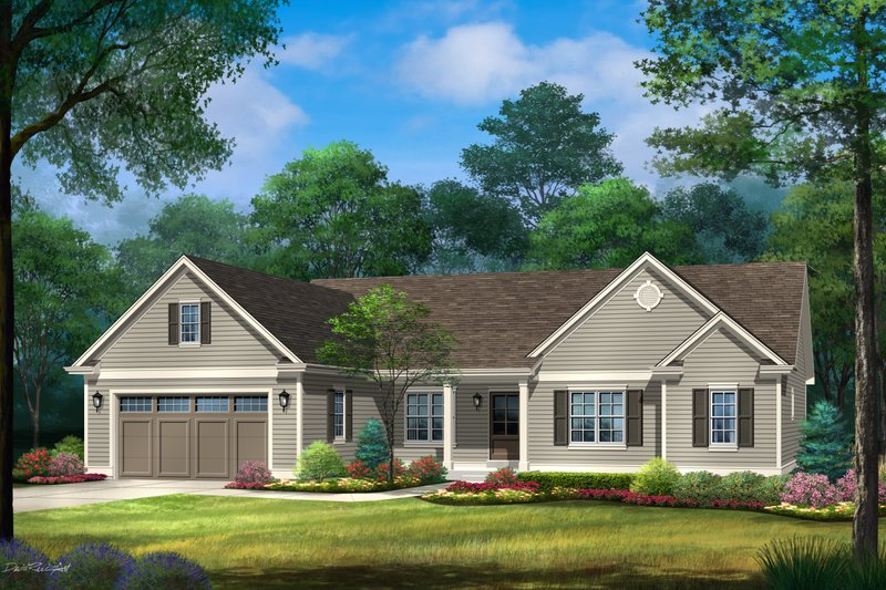 Architectural House Design - Ranch Exterior - Front Elevation Plan #22-632