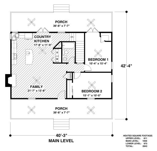 Country Floor Plan - Main Floor Plan #56-725