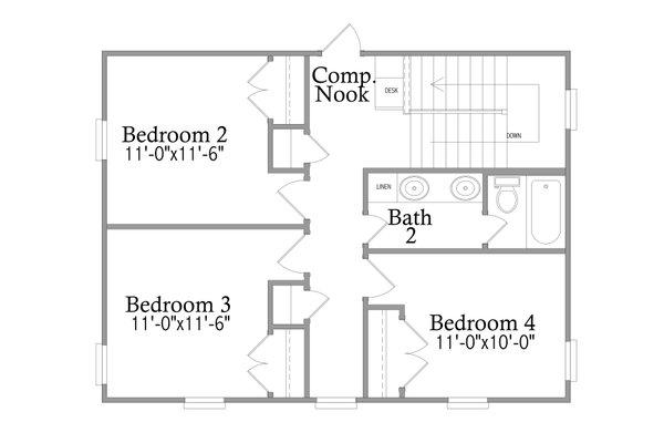 Traditional Floor Plan - Upper Floor Plan #69-403
