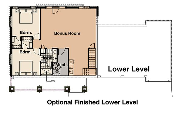 Craftsman Floor Plan - Lower Floor Plan Plan #908-3