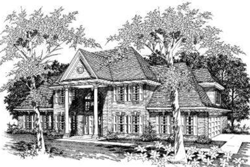 Colonial Style House Plan - 4 Beds 3.5 Baths 3000 Sq/Ft Plan #329-128 Exterior - Front Elevation
