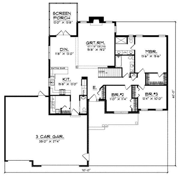 House Plan Design - Traditional Floor Plan - Main Floor Plan #70-188