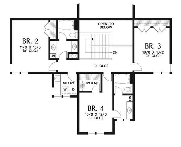 Modern Floor Plan - Upper Floor Plan Plan #48-939