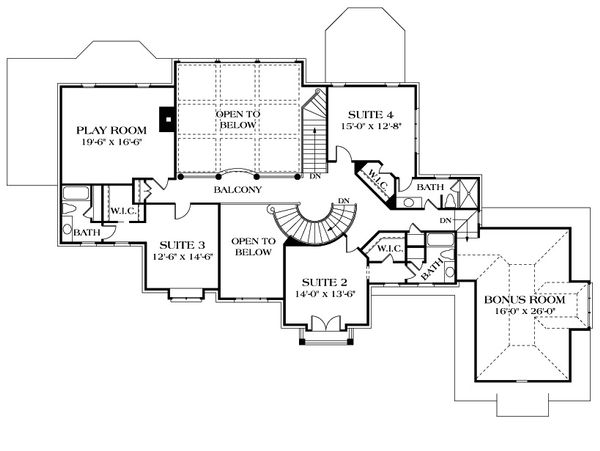 European Floor Plan - Upper Floor Plan Plan #453-52