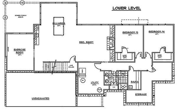 Craftsman Floor Plan - Lower Floor Plan Plan #51-355