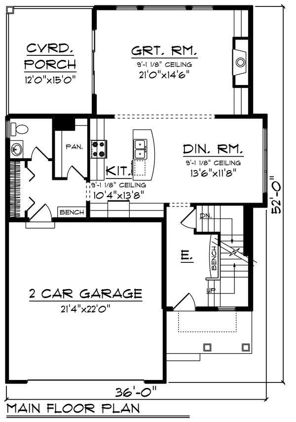 Country Floor Plan - Main Floor Plan Plan #70-1463