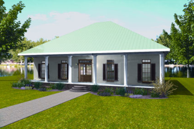 Southern Style House Plan - 3 Beds 2 Baths 1640 Sq/Ft Plan #44-161 Exterior - Front Elevation
