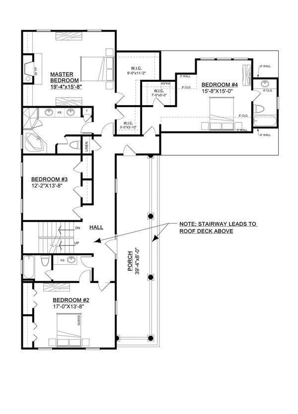 Southern Floor Plan - Upper Floor Plan Plan #30-344