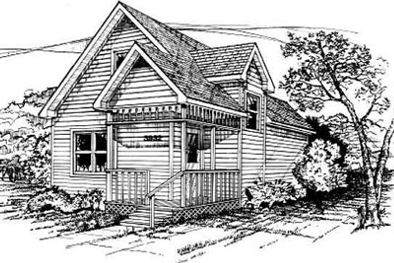 Cottage Style House Plan - 3 Beds 2 Baths 1032 Sq/Ft Plan #50-204 Exterior - Front Elevation