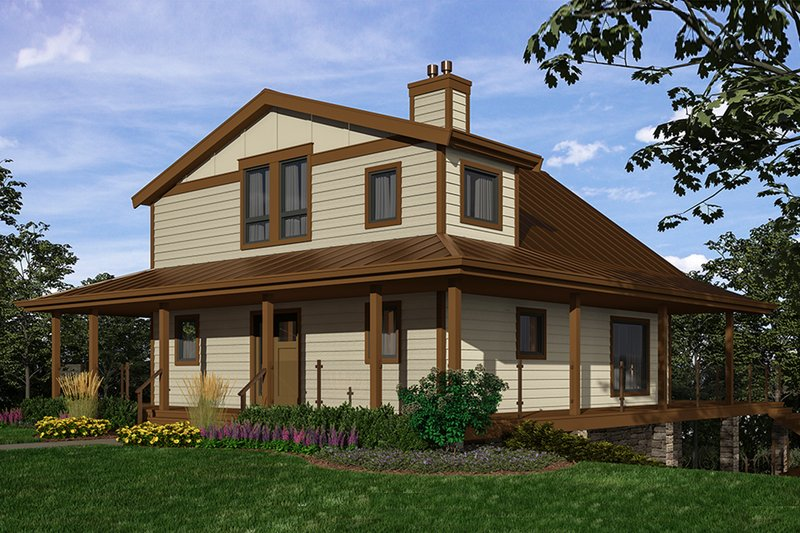 Cottage Style House Plan - 2 Beds 3 Baths 2432 Sq/Ft Plan #118-172 Exterior - Front Elevation
