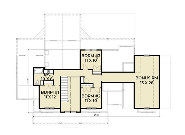 Farmhouse Floor Plan - Upper Floor Plan #1070-19