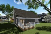 Craftsman Style House Plan - 2 Beds 1 Baths 1047 Sq/Ft Plan #70-1256 Exterior - Rear Elevation
