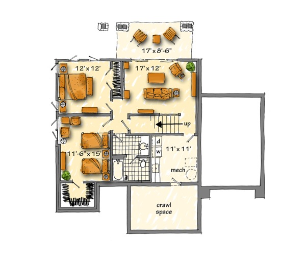 Country Floor Plan - Lower Floor Plan Plan #942-46
