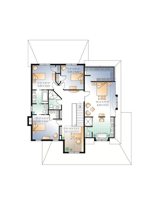 European Floor Plan - Upper Floor Plan Plan #23-657