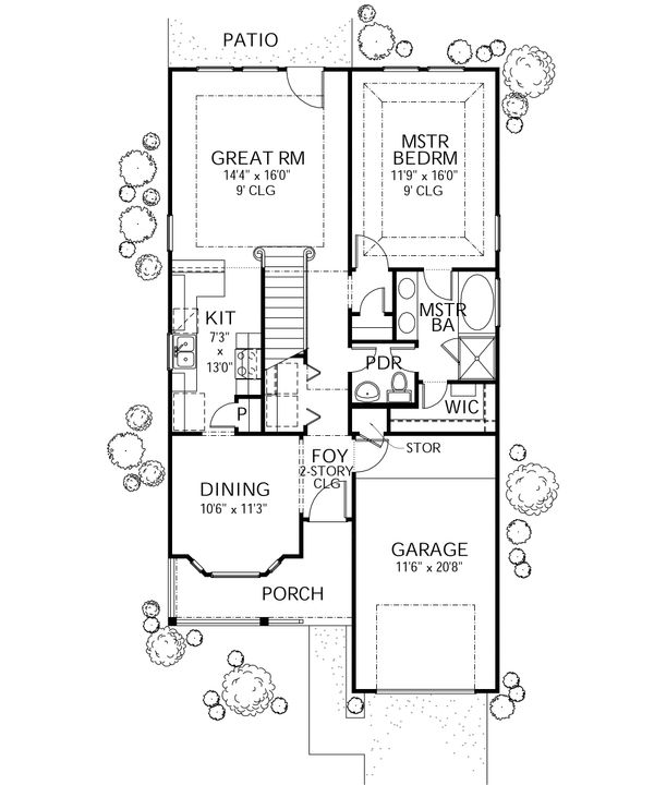 Traditional Floor Plan - Main Floor Plan Plan #80-107