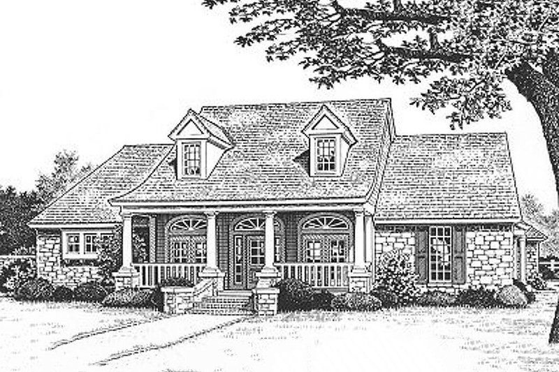 Southern Exterior - Front Elevation Plan #310-616