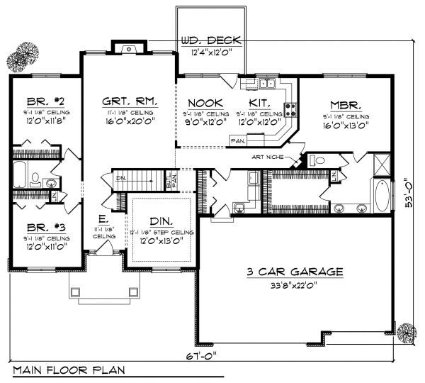 European Floor Plan - Main Floor Plan Plan #70-868