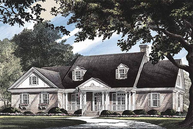 Southern Exterior - Front Elevation Plan #137-160 - Houseplans.com