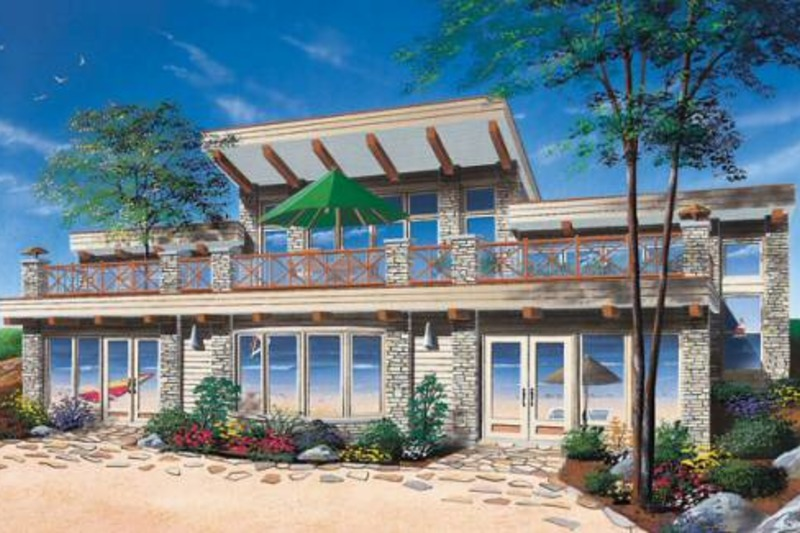 Beach Exterior - Front Elevation Plan #23-1031 - Houseplans.com