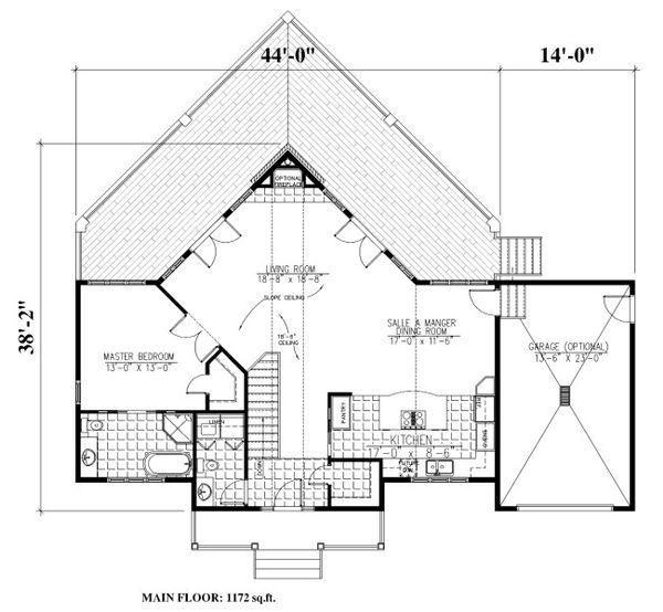 Cabin Floor Plan - Main Floor Plan Plan #138-349