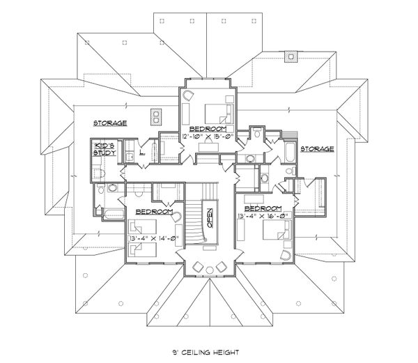 Colonial Floor Plan - Upper Floor Plan Plan #1054-29