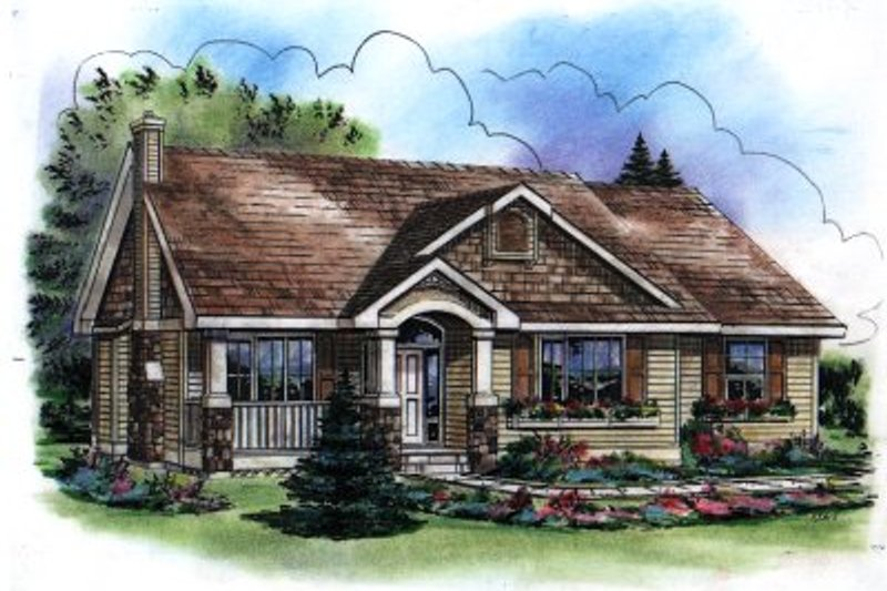 House Blueprint - Traditional Exterior - Front Elevation Plan #18-1037