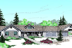 Ranch Exterior - Front Elevation Plan #60-205